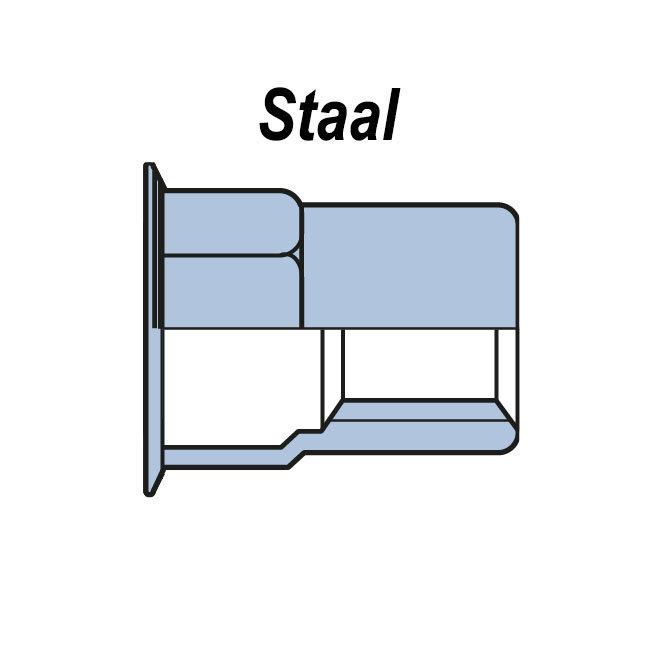 Half zeskant - Gereduceerd verzonken - Staal