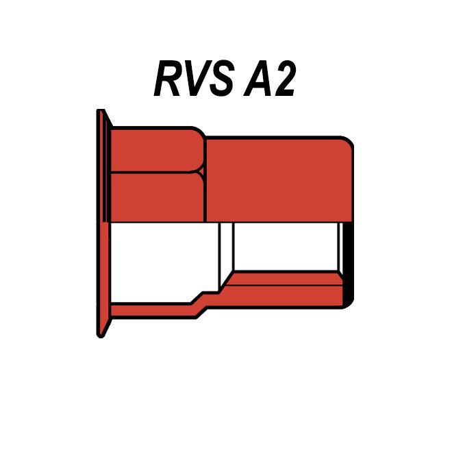 Gesloten - Half zeskant - Gereduceerd verzonken - RVS A2