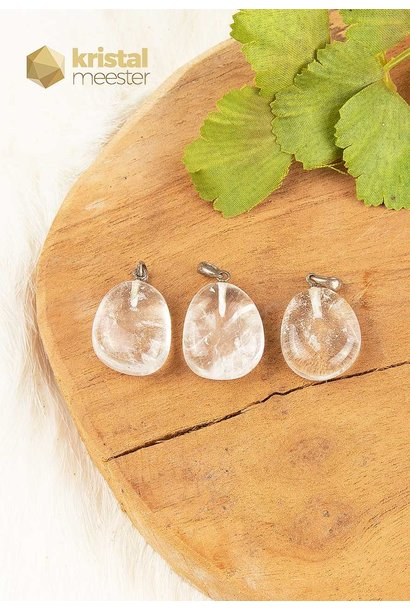 Bergkristal hanger met zilver oog