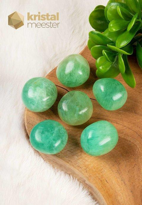 Groene Fluoriet trommelstenen - maat XL