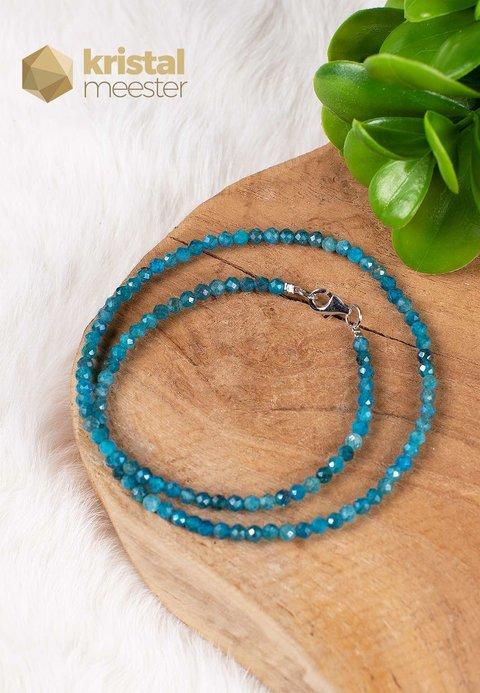 Blauwe Apatiet facet geslepen ketting - 45 cm