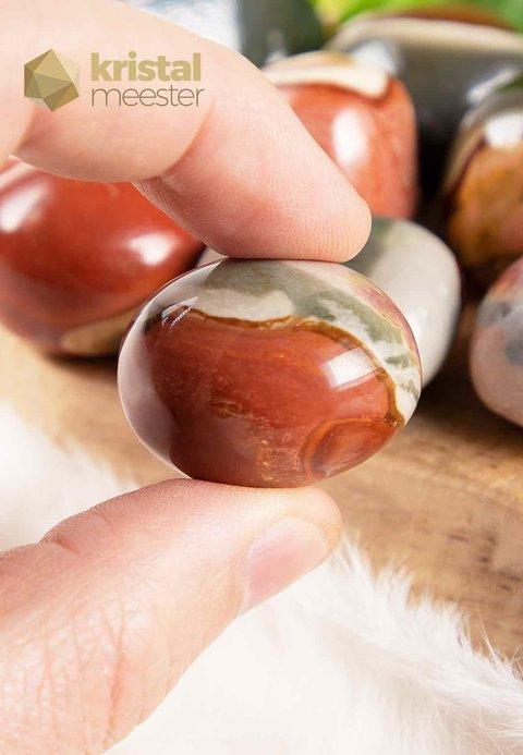 Polychroom Jaspis trommelstenen - maat L