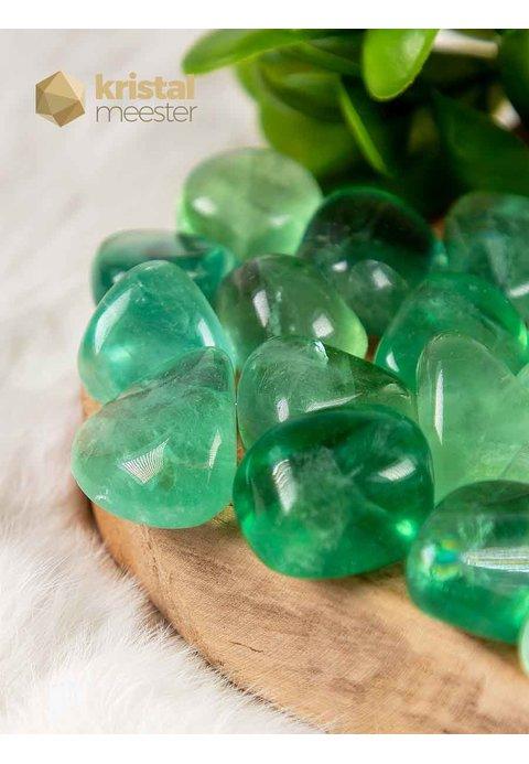Groene Fluoriet trommelstenen EX - maat M