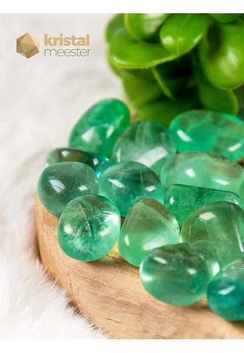 Groene Fluoriet trommelstenen EX - maat S