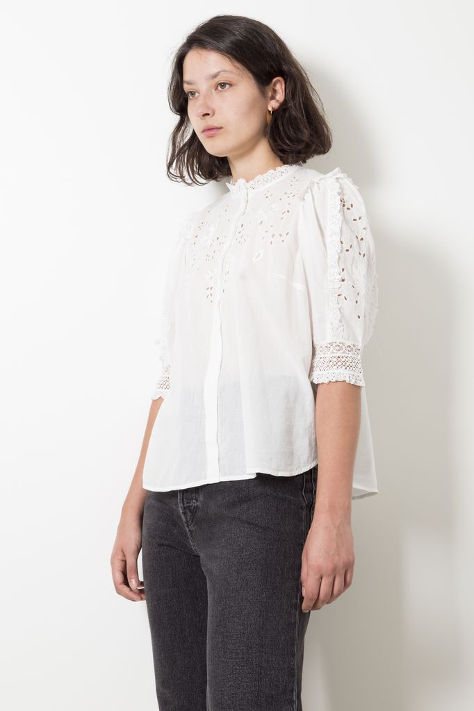 Ulla Johnson kinsey blouse victorian floral embroidered cotton