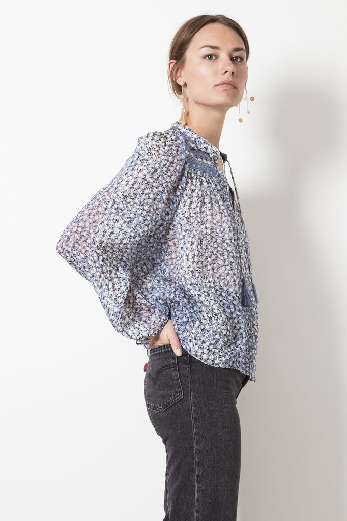 Ulla Johnson constance blouse tiny floral lurex georgette