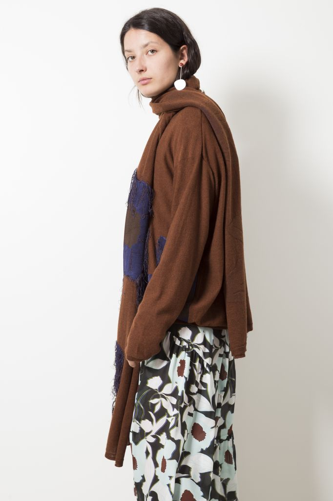 Christian Wijnants FILCOUPE FLOWERS BROWN SCARF