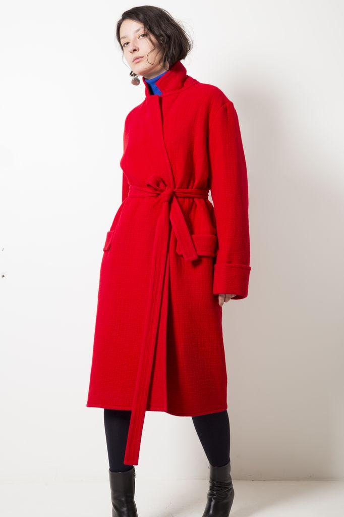 Helmut Lang belted blanket coat
