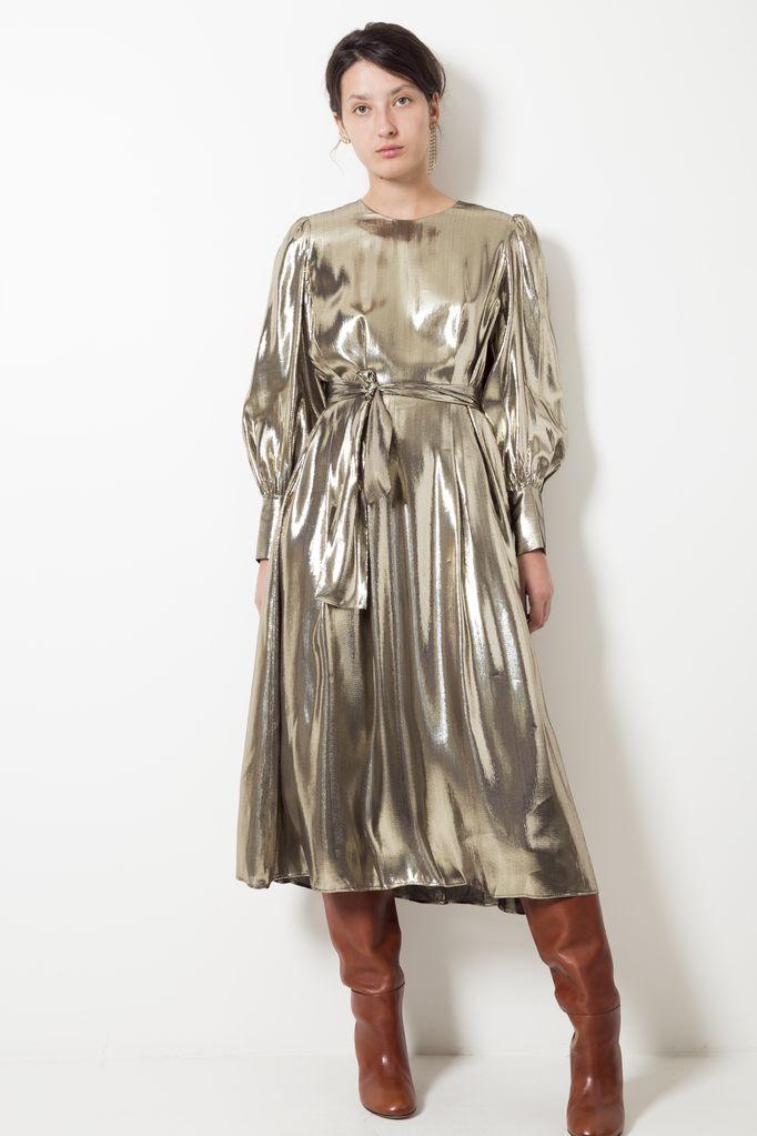 Les Coyotes de Paris Drake silk metallic dress