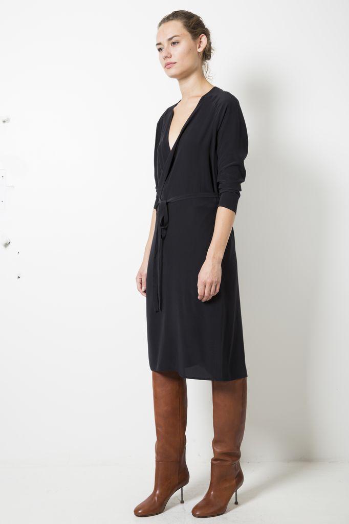 Monique van Heist wrap silk dress