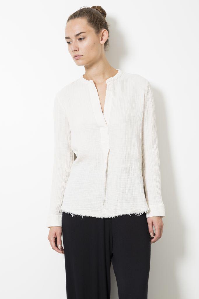 Raquel Allegra Henley textured gauze shirt