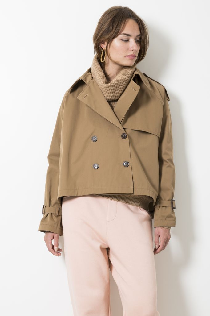Opportuno jackie short a-line trench