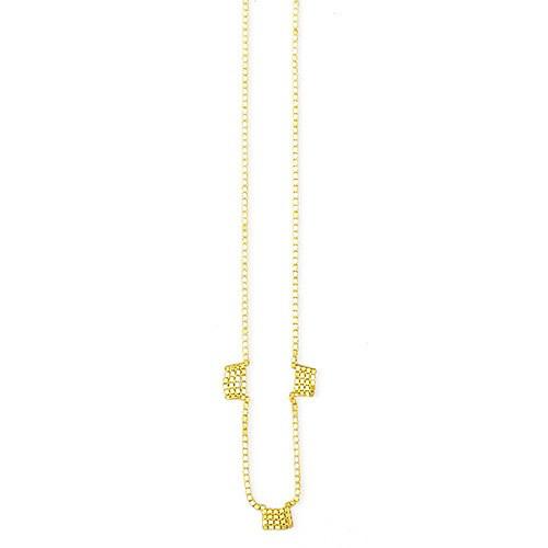 Martine Viergever fringe 3 necklace short, goldplated silver