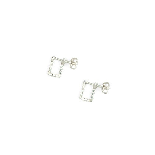 Martine Viergever square simple earrings, goldplated pair