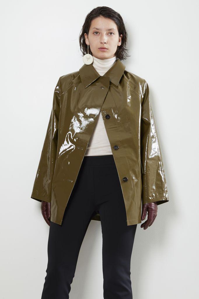 KASSL Olijf lak short raincoat