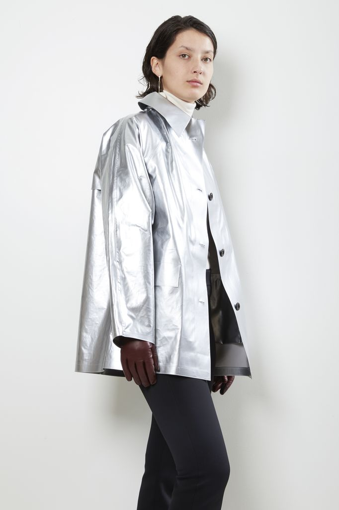 KASSL Silver lak short raincoat