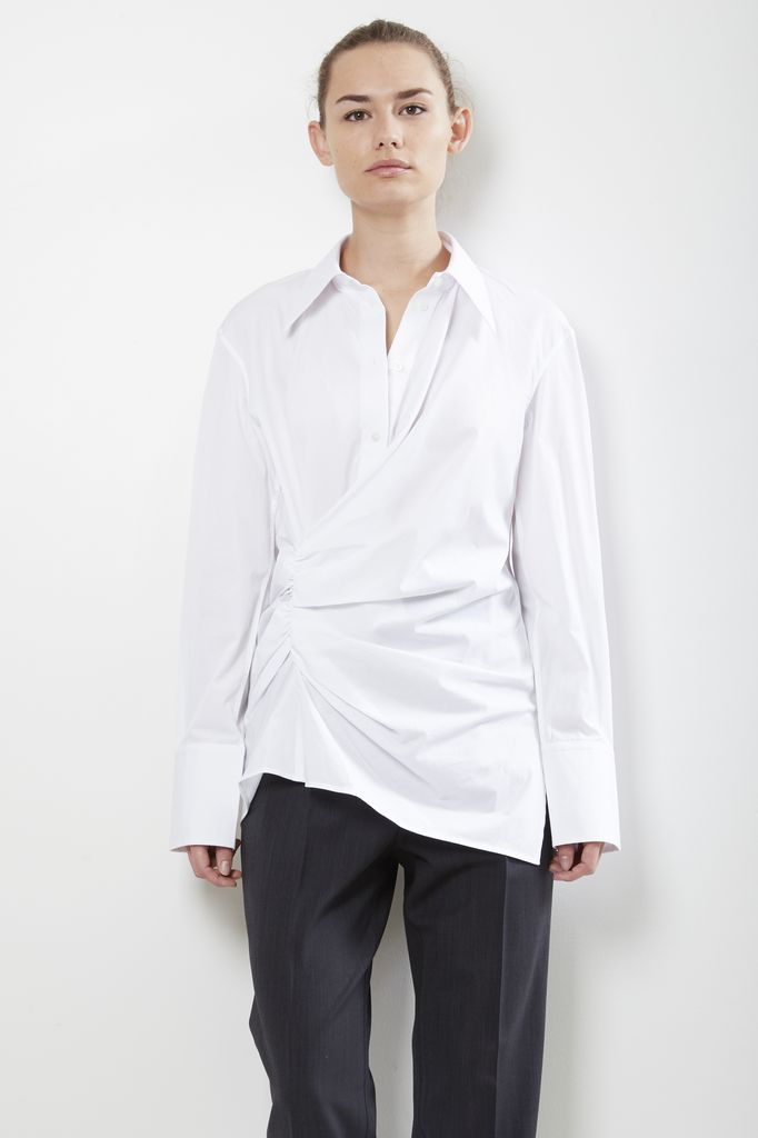 Helmut Lang draped crisp cotton shirt