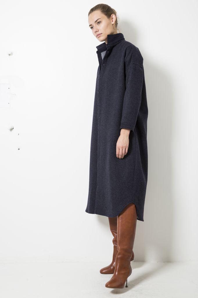Monique van Heist 0+8 long loden shirt/coat