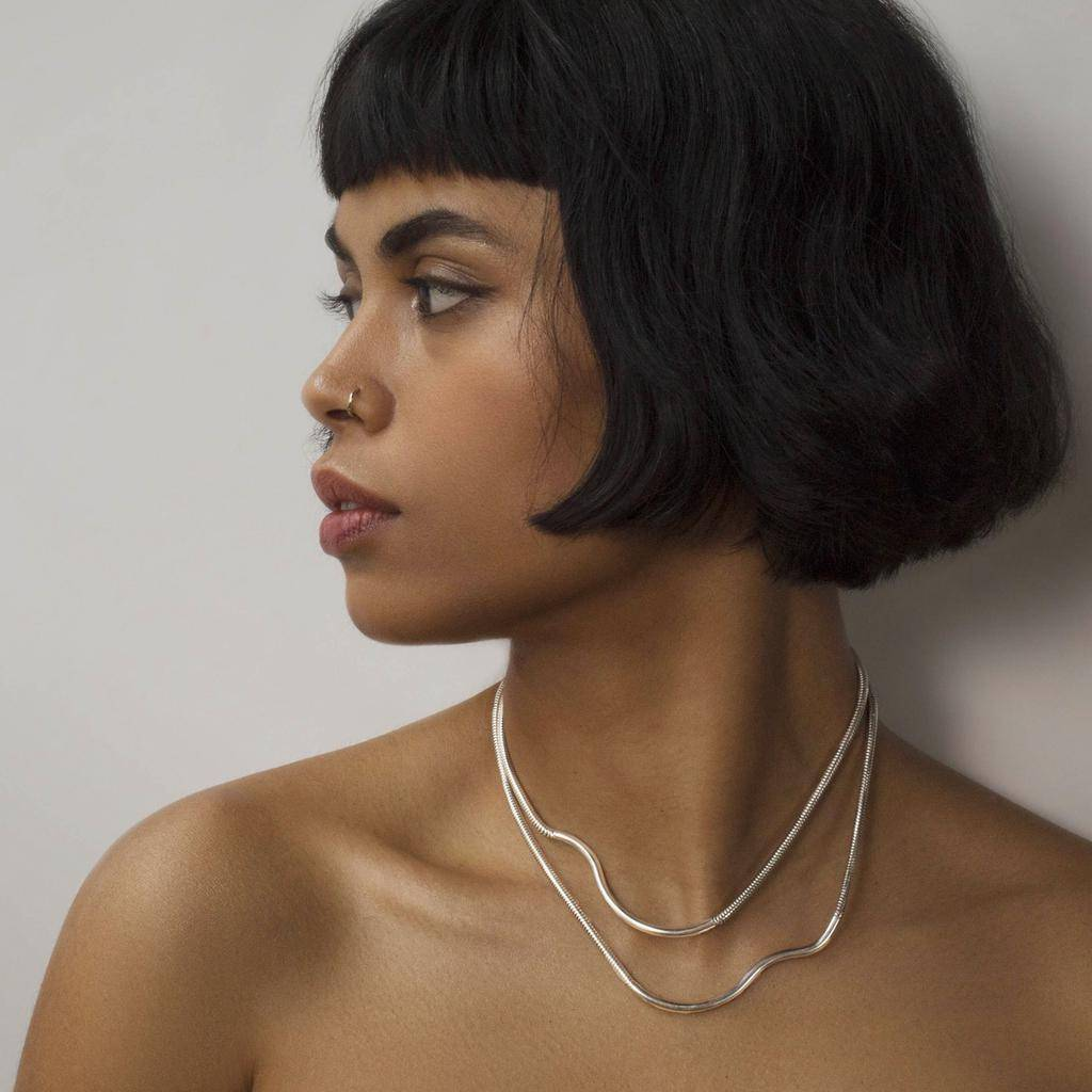 Annika Inez SS/OXSS-Double Ripple Necklace. Snake Chain Qith.