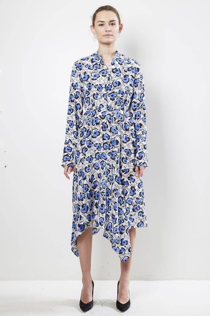 Christian Wijnants DOMI LEOFLOWER WHITE/BLUE 100% SILK DRESS