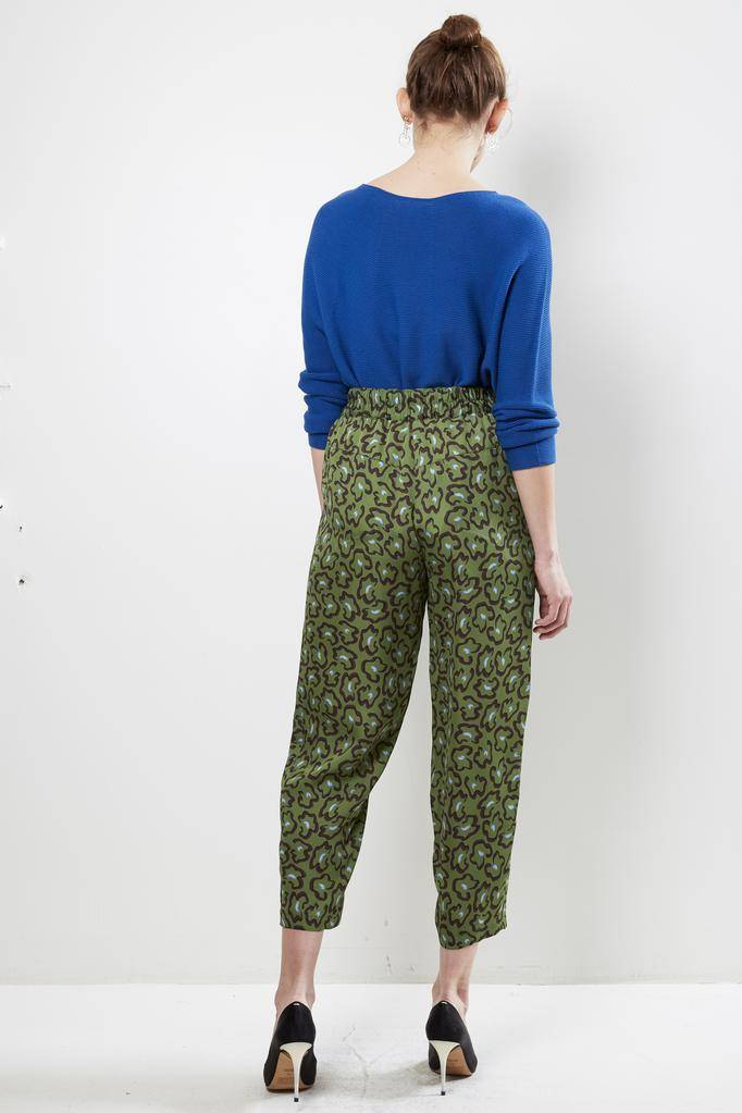 Christian Wijnants PANEY LEOPARD GREEN 100% BAMBOO PANT