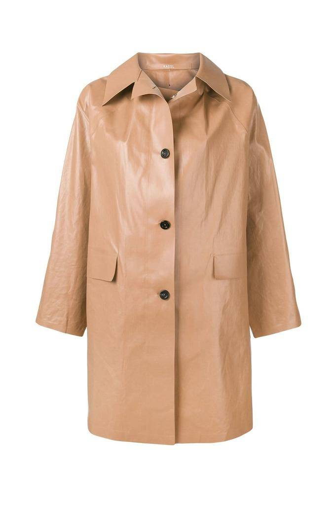 KASSL ABOVE THE KNEE OIL BROWN TRENCH coat