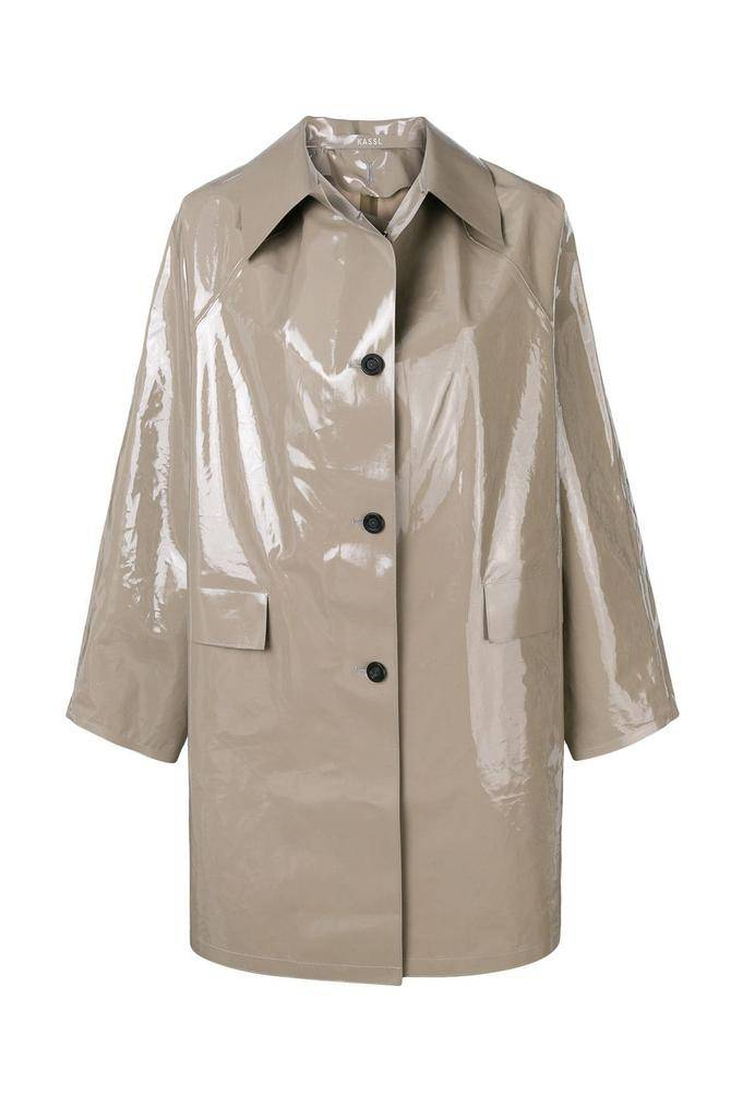 KASSL ABOVE THE KNEE LACQUER GREY raincoat