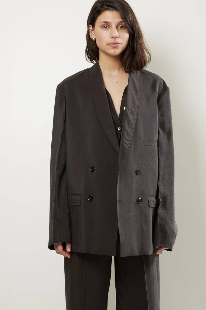 Lemaire DOUBLE BREASTED DRY SILK JACKET