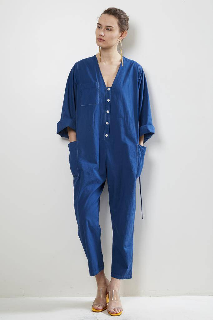 Raquel Allegra utility cotton stripe boiler suit