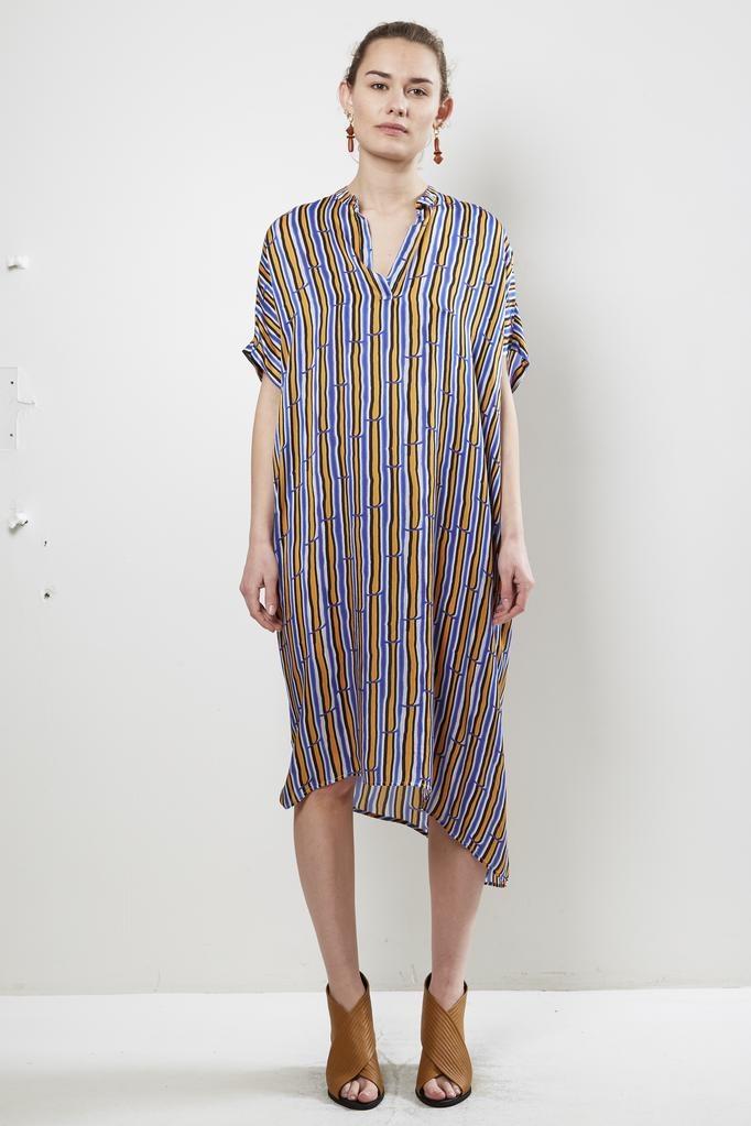 Christian Wijnants DIPHA BAMBOO STRIPES SILK CHARMEUSE DRESS