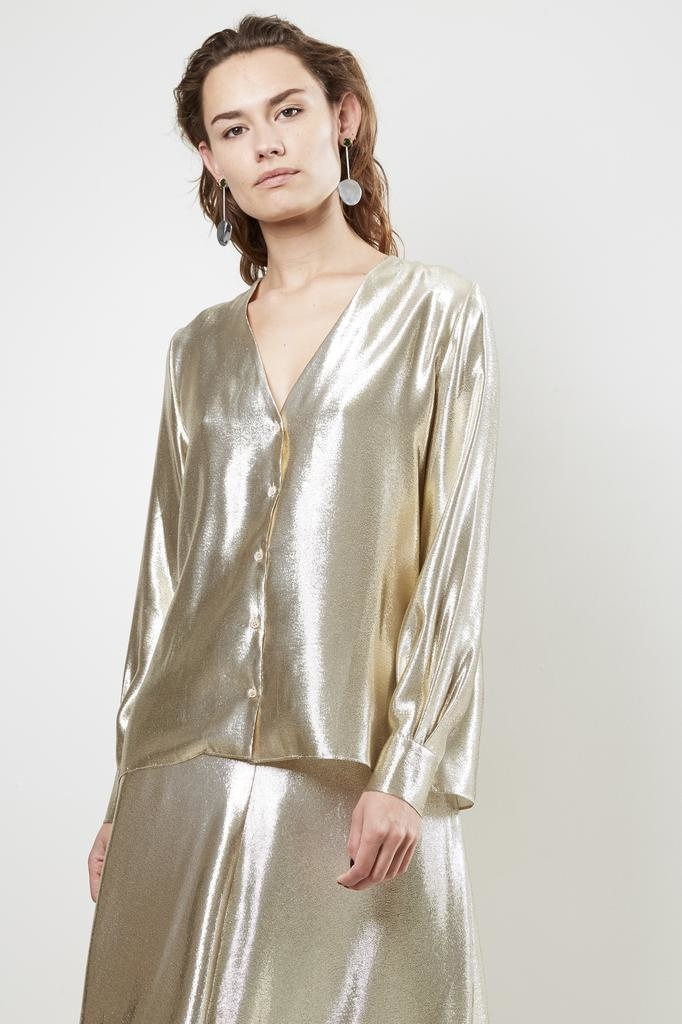 inDRESS SHINY V-NECK BLOUSE