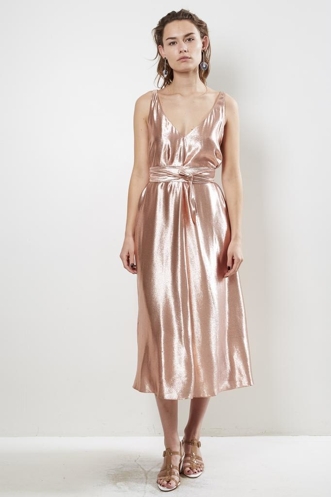 inDRESS SHINY V-NECK DRESS