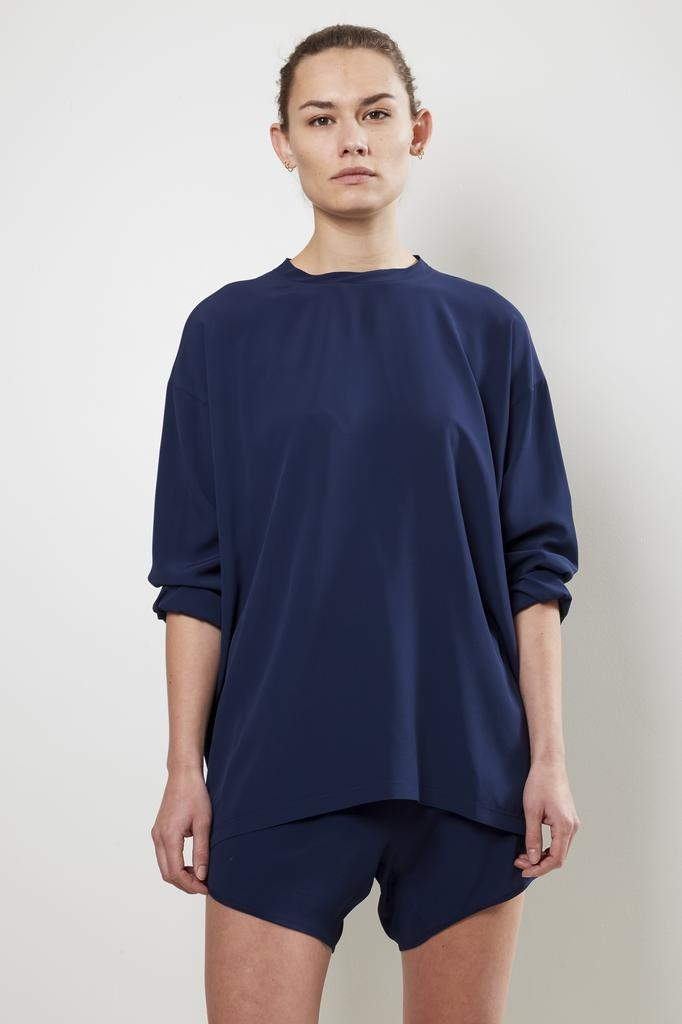 Monique van Heist lol mini navy silk t-shirt