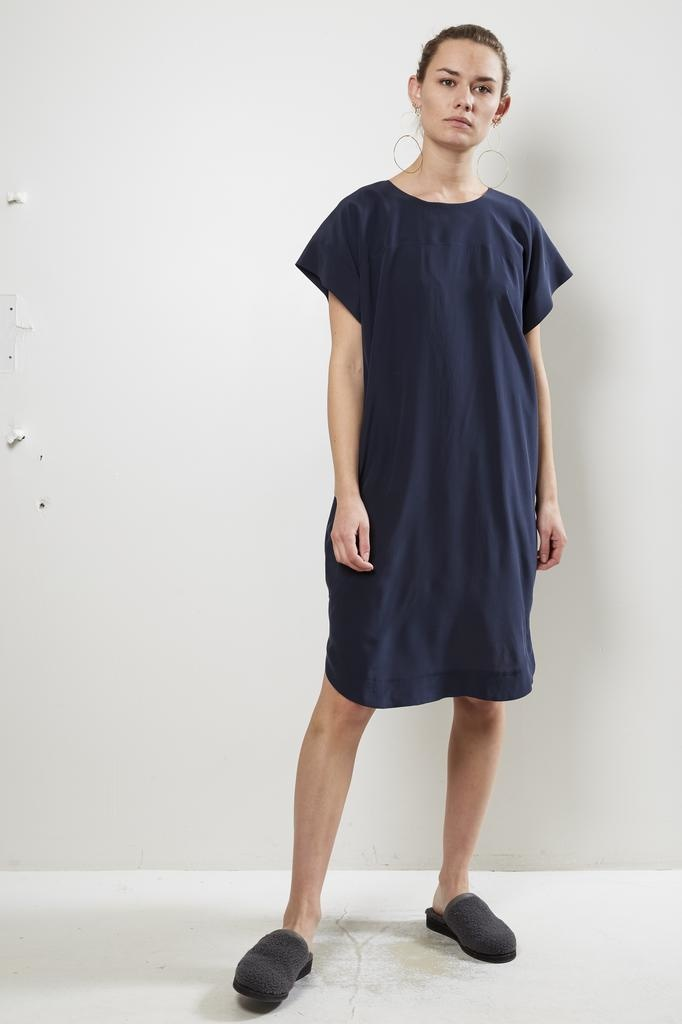 Monique van Heist navy silk stella dress