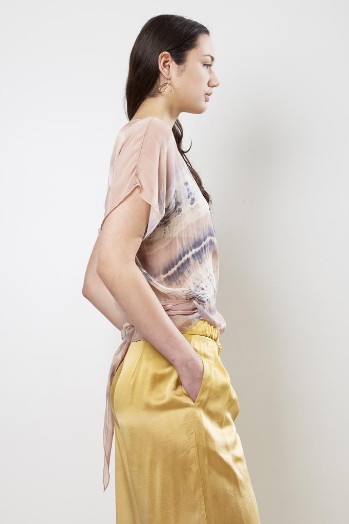 Raquel Allegra Pavlova Wrap Top Silk Tie Dye