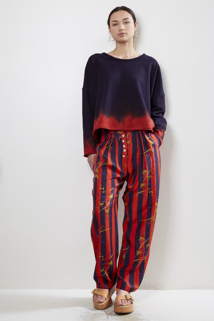 Raquel Allegra Button Front Pant Floral Stripe Kimono Silk