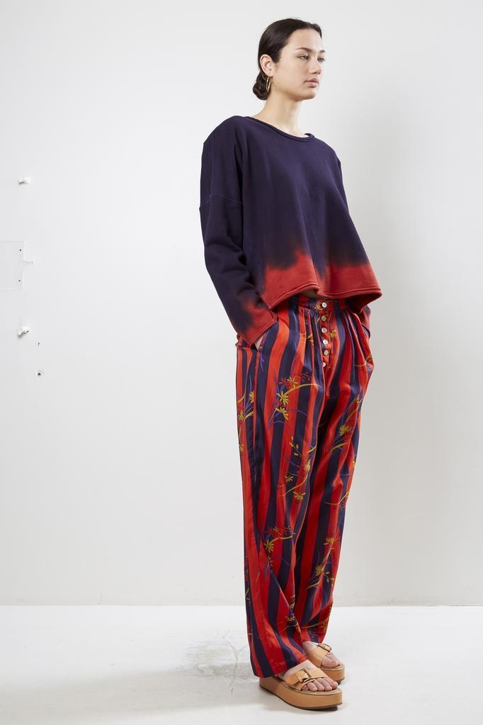 Raquel Allegra - Button Front Pant Floral Stripe Kimono Silk