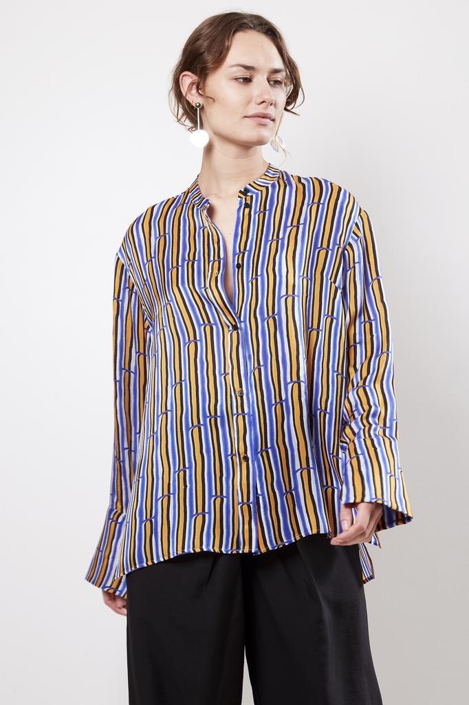 Christian Wijnants TARA BAMBOO STRIPES 100% SILK shirt