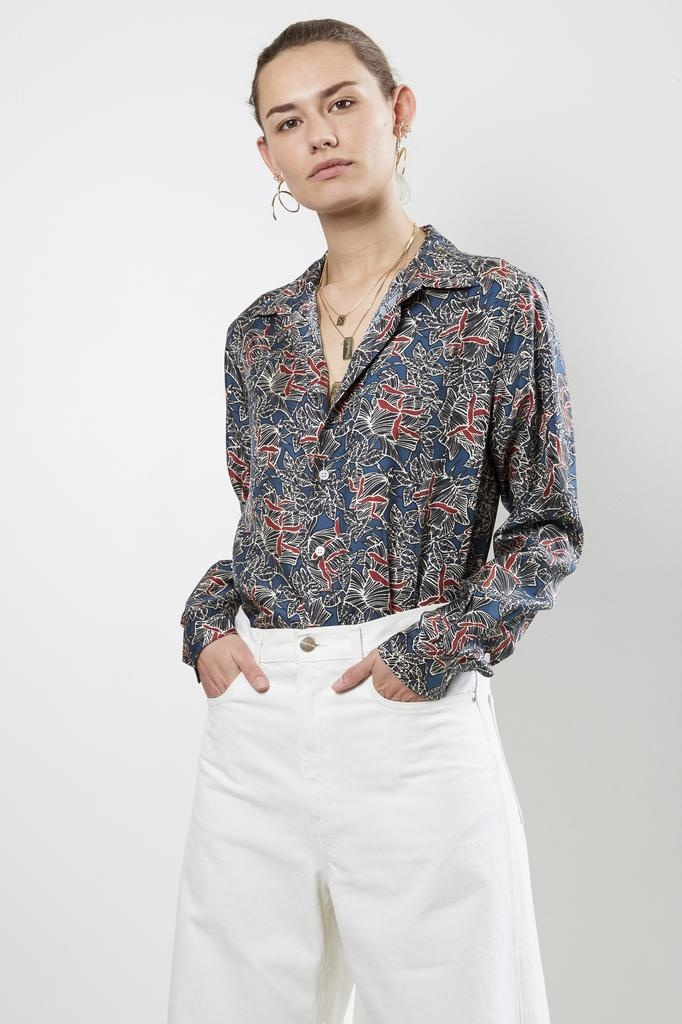 Bananatime printed silk collar shirt