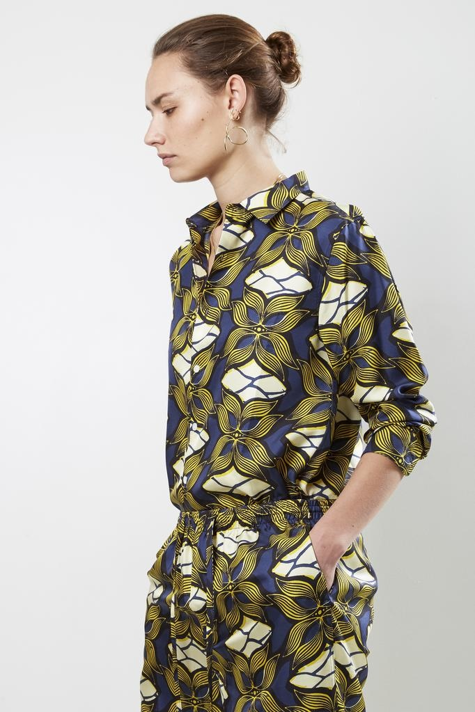 Bananatime - printed silk collar shirt