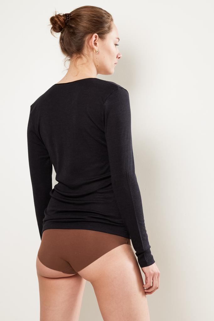 hanro - long sleeve woolen silk shirt