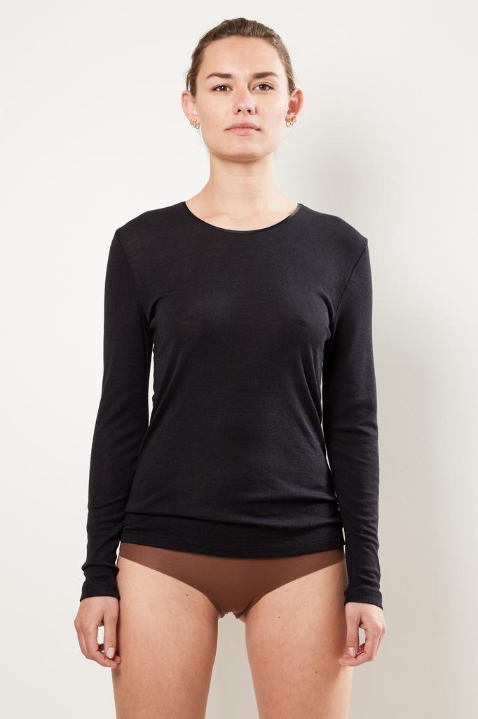 hanro long sleeve woolen silk shirt