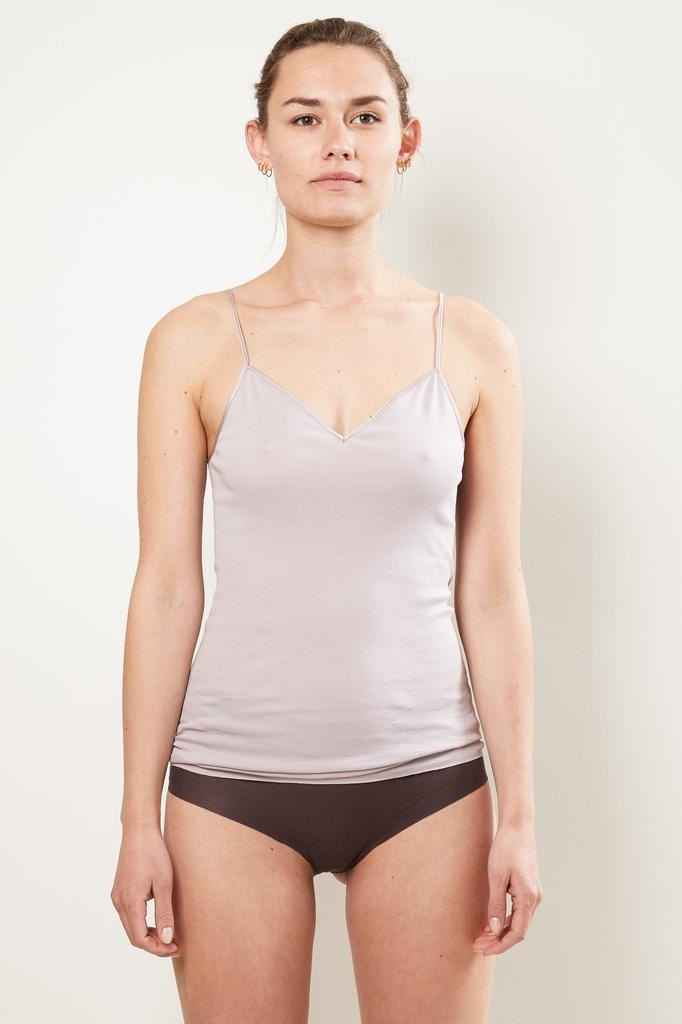 hanro v-neck seamless cotton spaghetti top