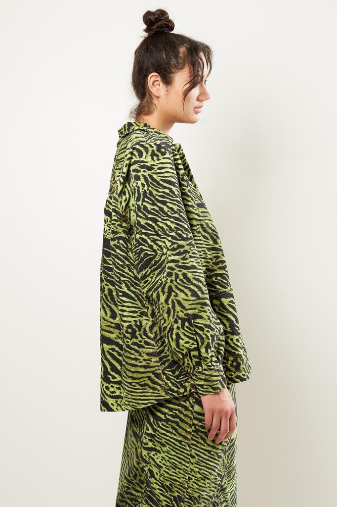 Ganni - lime tiger print denim jacket