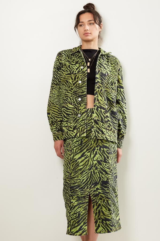 Ganni lime tiger print denim jacket