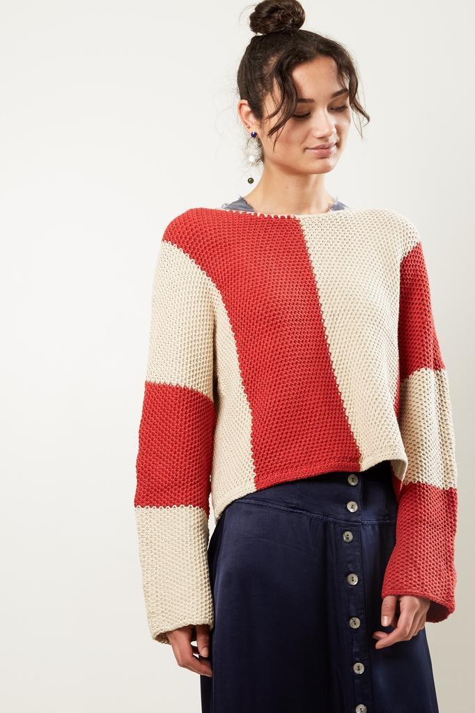 Raquel Allegra boxy bold stripe knitted crew
