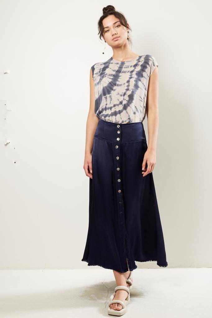 Raquel Allegra - pebble satin button front skirt