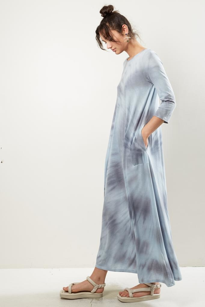 Raquel Allegra 3/4 sleeve drama maxi tie dye dress