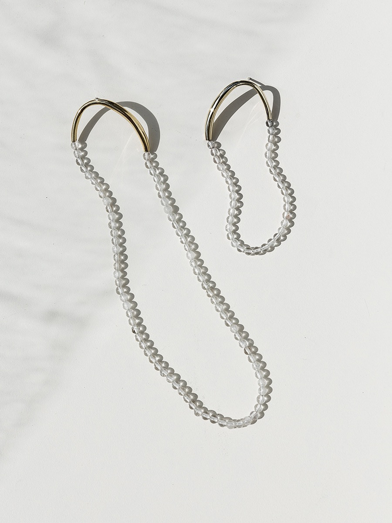Faris Asymmetric pair of filo and long filo earring with pearl