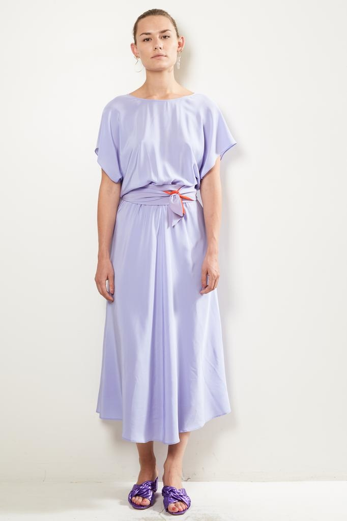 inDRESS Batwin silk dress with belt